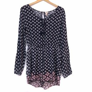 CAPE JUBY Navy Blue Red Floral Long Sleeve Romper
